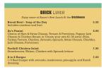 Brick Menu Lunch